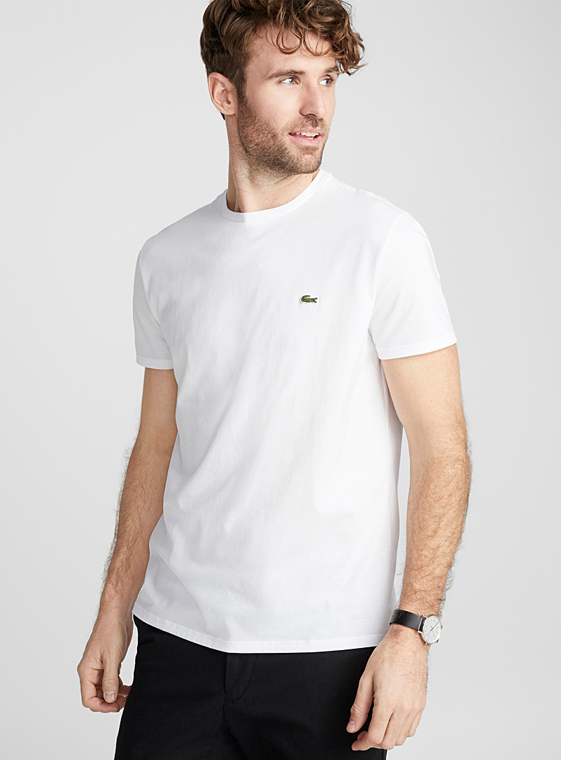 Lacoste White Croc crew neck T-shirt for men