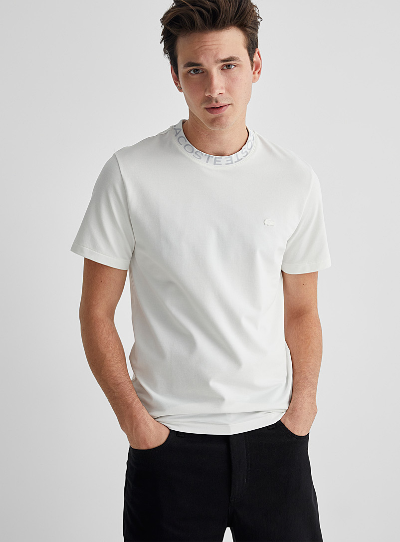 Lacoste Ivory White Signature sporty-collar T-shirt for men