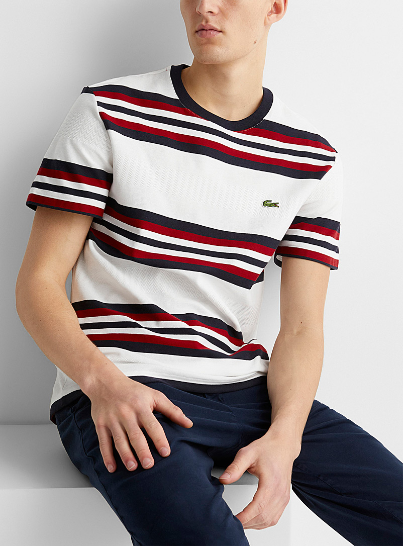 Lacoste White Tricolour striped T-shirt for men