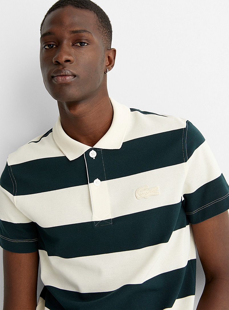 Lacoste Patterned Black Club stripe polo for men