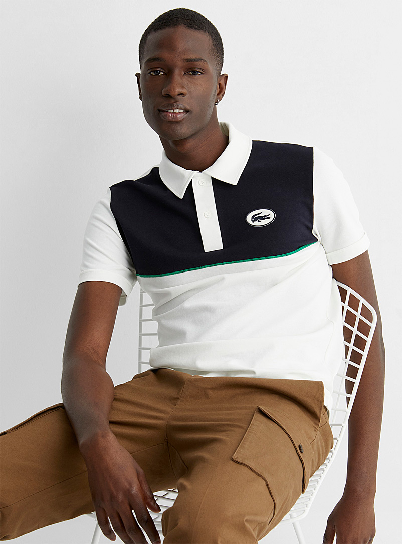 Lacoste Ivory White Double block polo for men