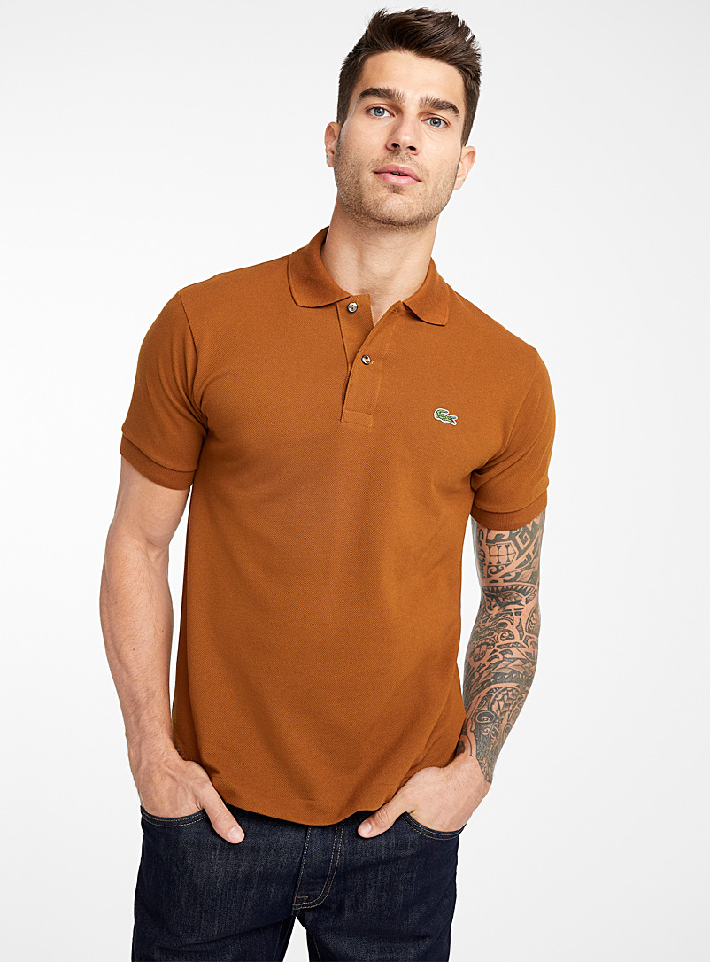 Piqué croc polo - Logo wear - Dark Brown