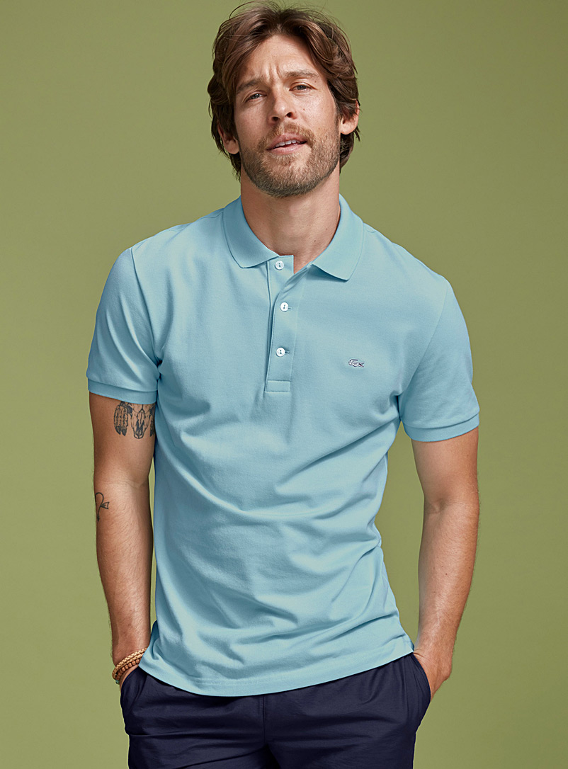 Lacoste Blue Piqué croc polo for men