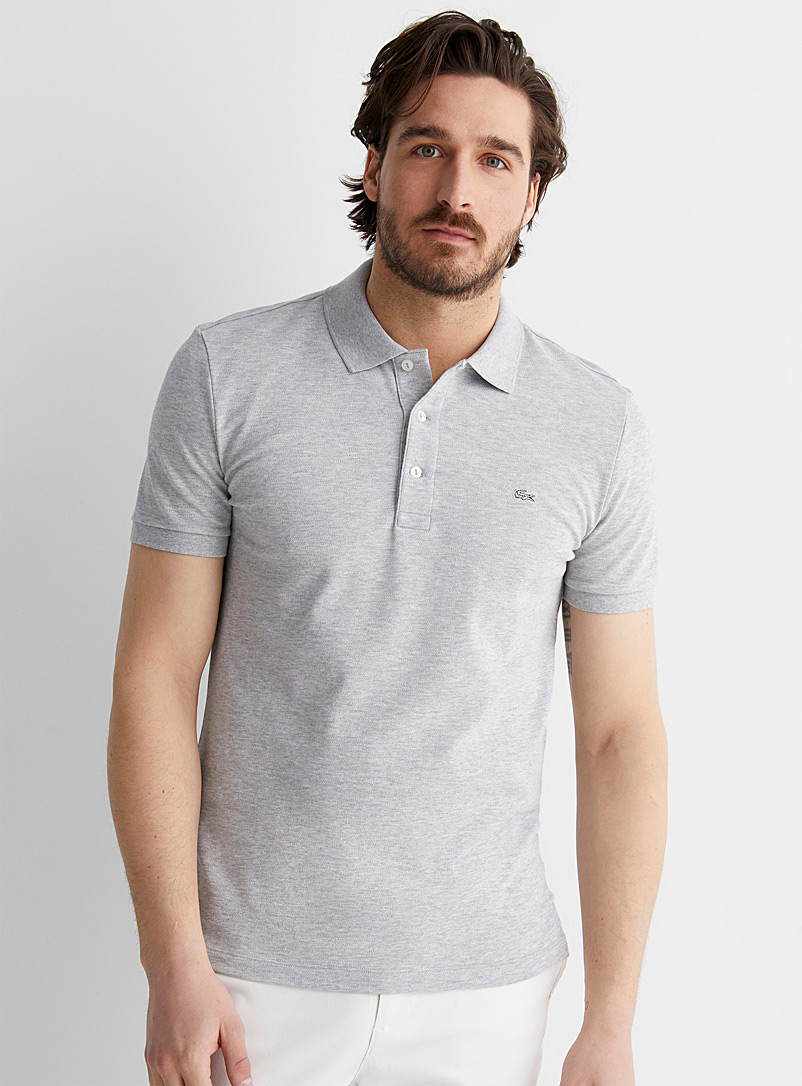 Lacoste Charcoal Exclusive piqué croc polo for men
