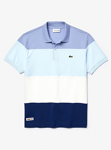 Blue block piqué polo