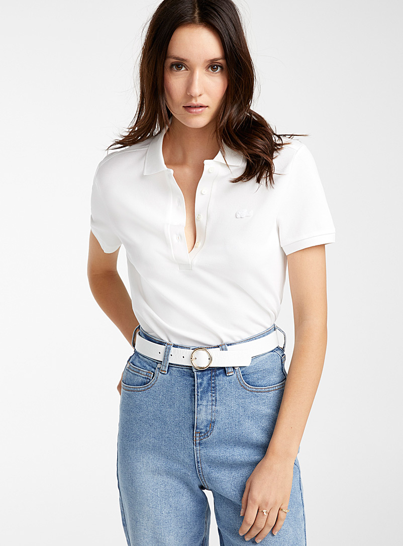Lacoste White Stretch cotton fitted polo for women