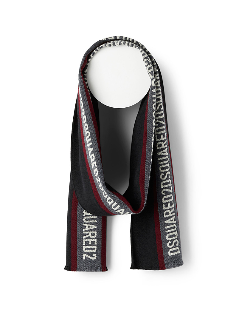Dsquared2 Black Logo stripe scarf for men
