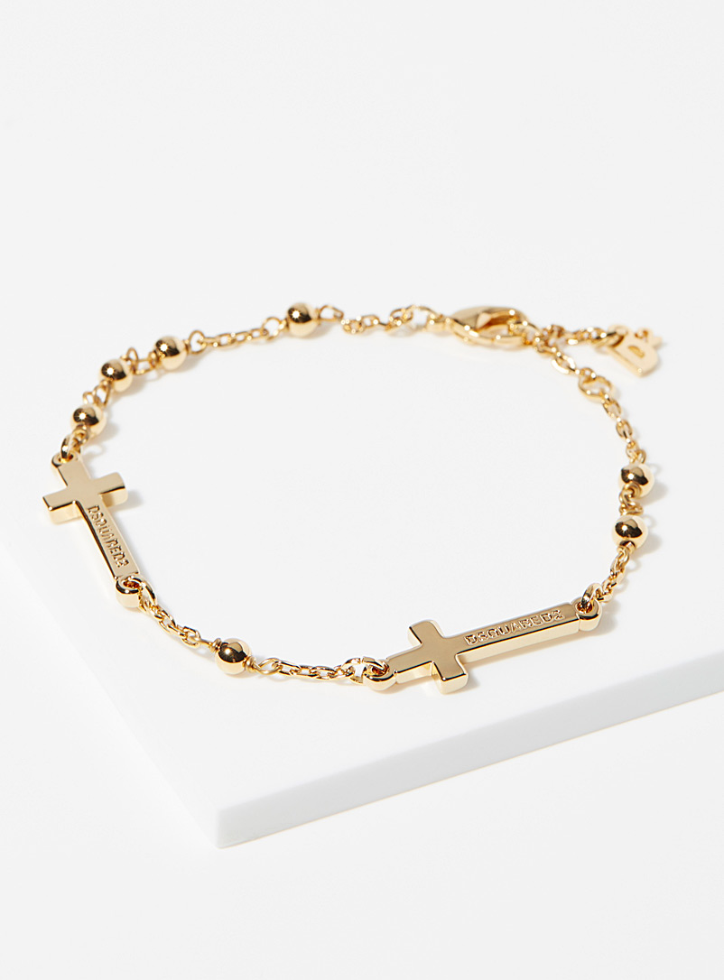 Dsquared2 Golden Yellow Double cross bracelet for men