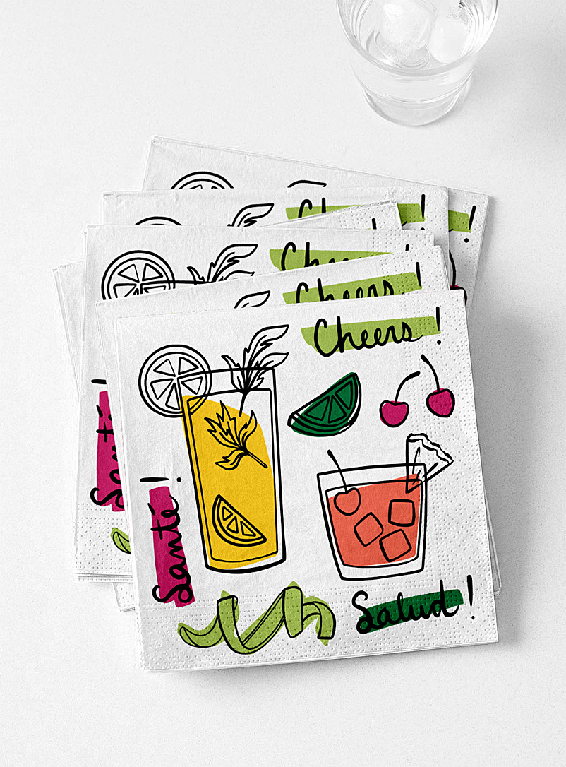 Simons Maison Assorted Summer cocktails paper napkins  33 x 33?cm. Pack of 20.