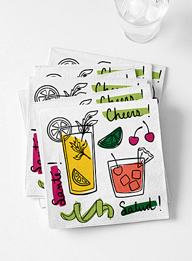 Summer cocktails paper napkins  33 x 33 cm. Pack of 20.