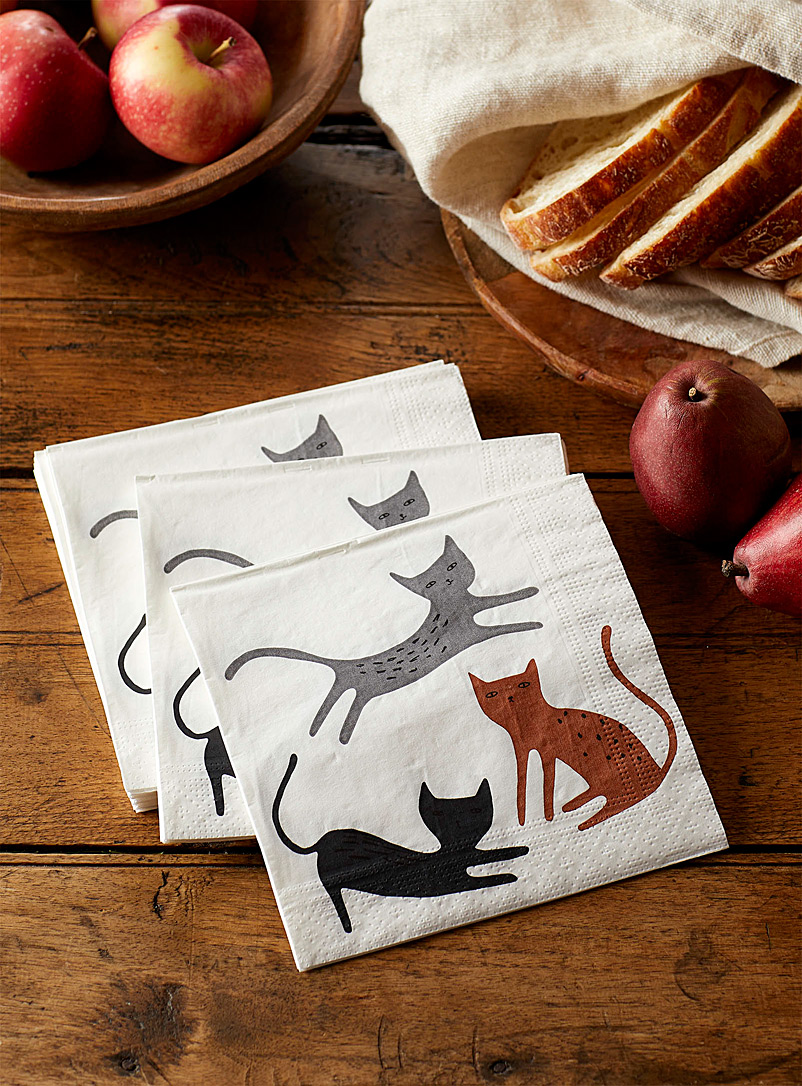 "Simons Maison Assorted Cats paper napkins  13"" x 13"" (33 x 33 cm). Pack of 20."