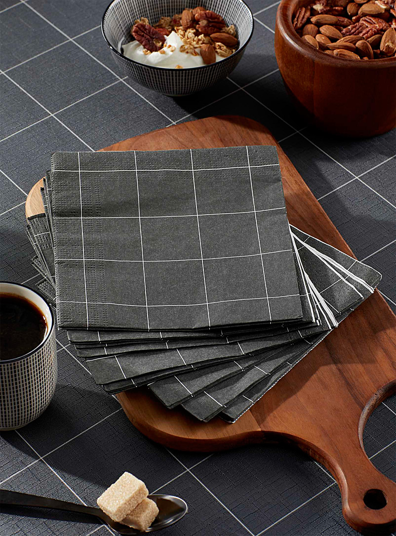 Simons Maison Dark Grey Windowpane check paper napkins  33 cm x 33 cm. Pack of 20.