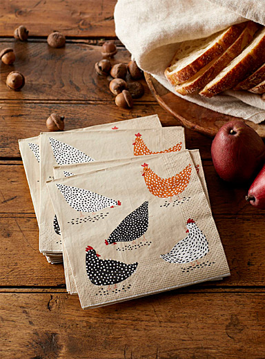 "Hens paper napkins  13"" x 13"" (33 x 33 cm). Pack of 20."