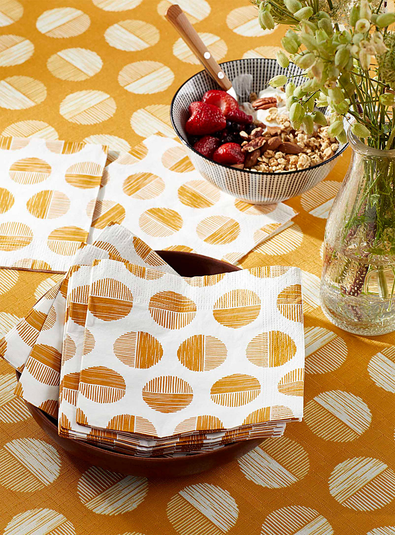 Simons Maison Golden Yellow Solar discs paper napkins  33 cm x 33 cm. Pack of 20.