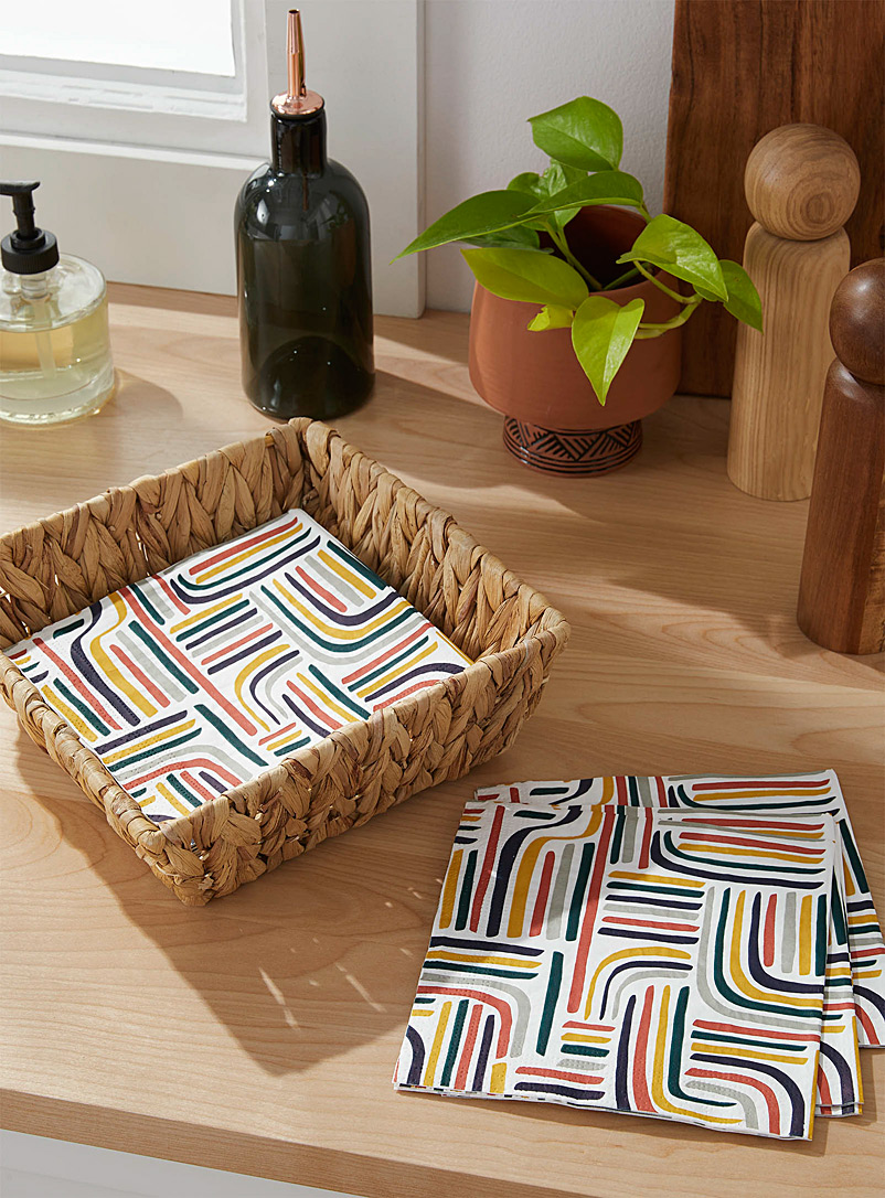 Simons Maison Assorted Eclectic lines paper napkins 33 x 33cm. Pack of 20.
