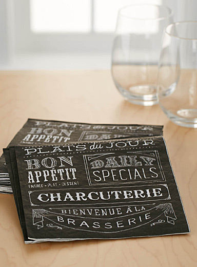 Slate menu paper napkins  33 x 33 cm. Pack of 20.