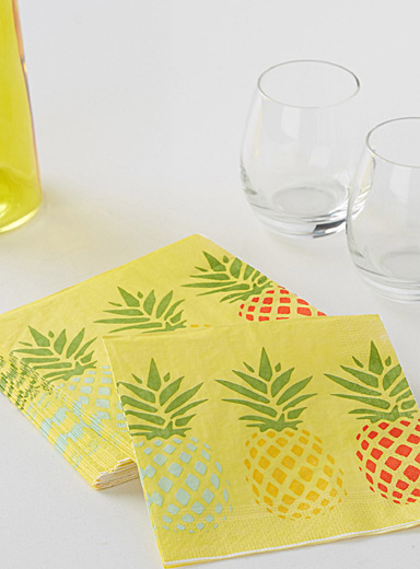 Pineapple cocktail paper napkins  33 x 33 cm. Pack of 20.
