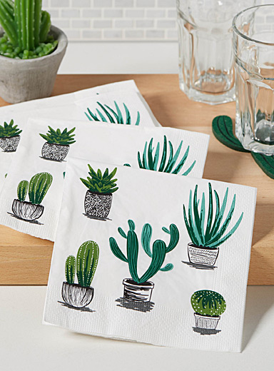 Cacti and succulents paper napkins  33 x 33 cm. Pack of 20.