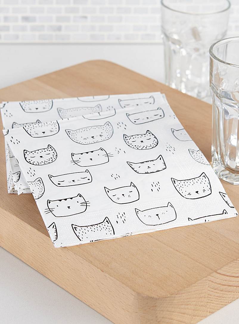 Simons Maison Patterned White Purring kittens paper napkin  33 x 33 cm. Pack of 20.