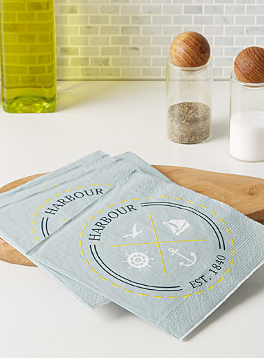 Nautical dial paper napkins  33 x 33 cm. Pack of 20.