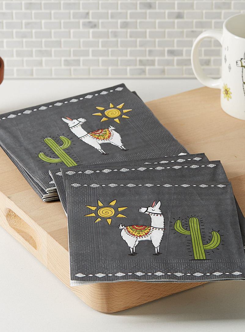 Simons Maison Patterned Grey Desert llamas paper napkins  33 cm x 33?cm. Pack of 20.