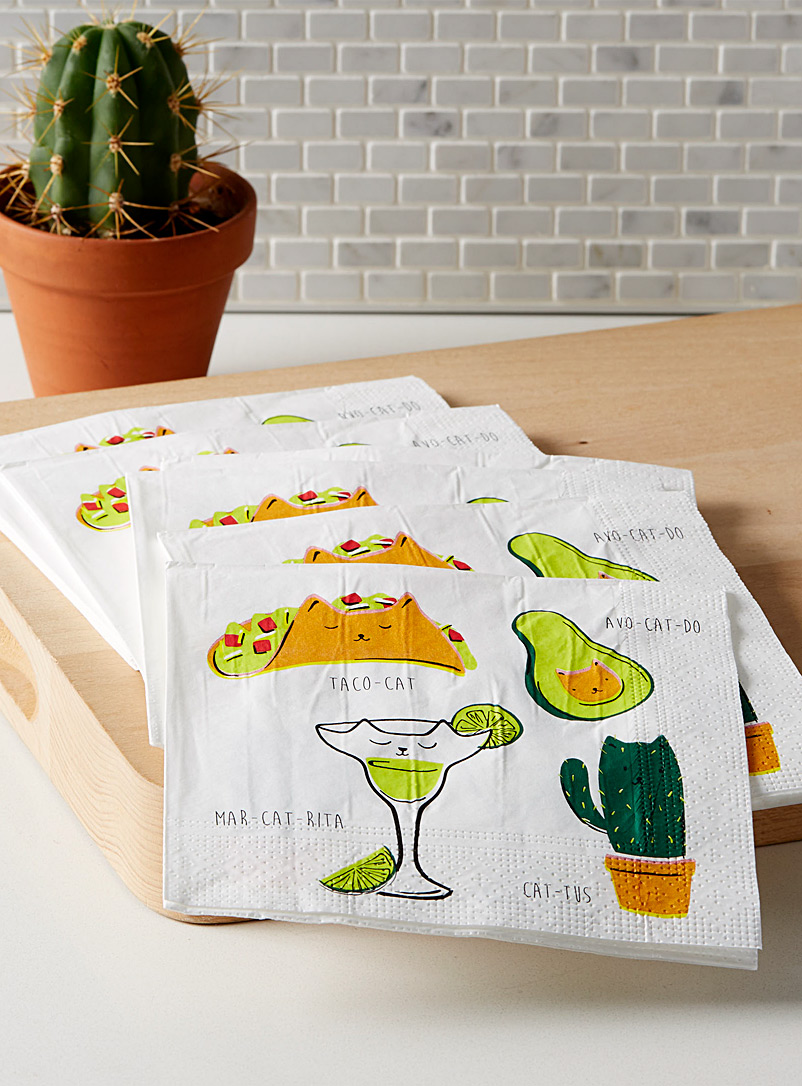 Taco cat paper napkins  33 x 33 cm. Pack of 20.