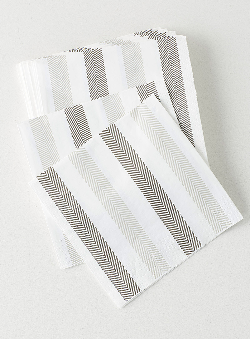 Simons Maison Patterned White Herringbone stripe paper napkins  33 x 33 cm. Pack of 20.