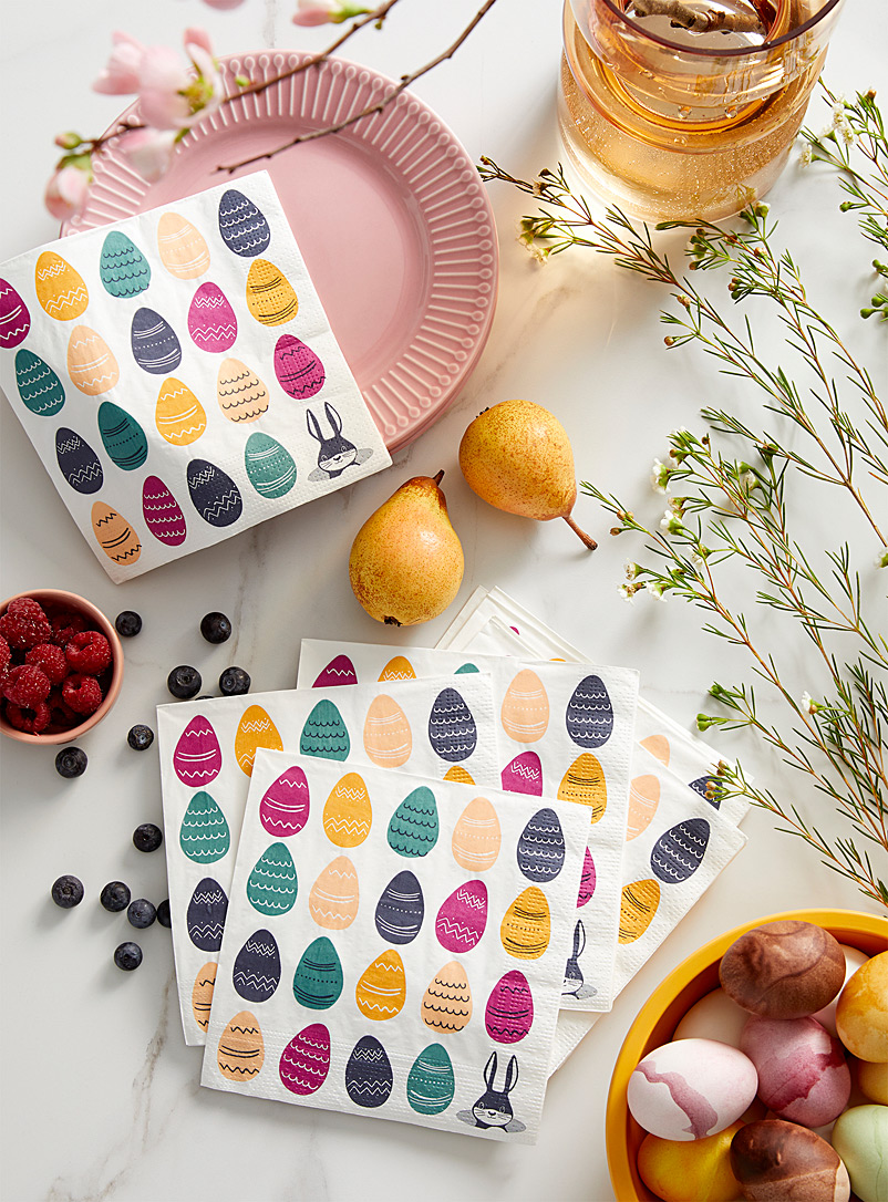 Simons Maison Assorted Egg hunt paper napkins  33 x 33?cm. Pack of 20.