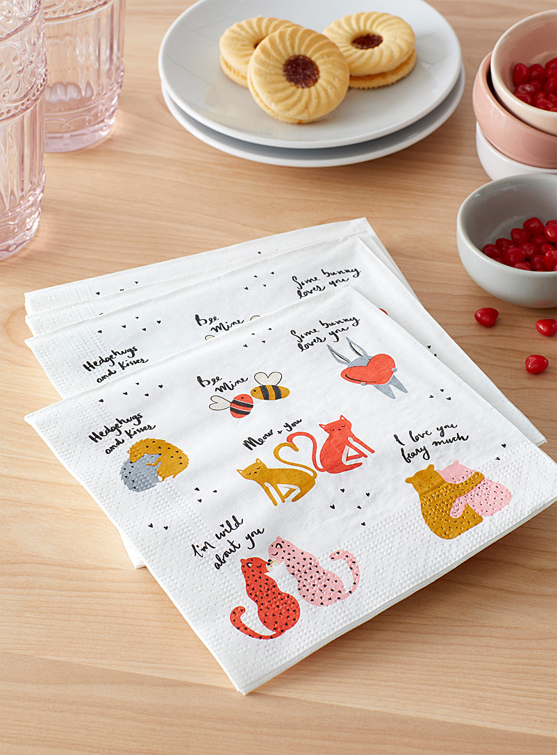 Animal lovers paper napkins 33 x 33 cm. Pack of 20.