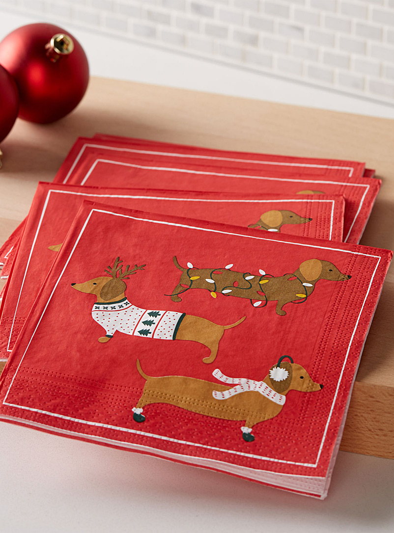 Holiday dachshund paper napkins  33 x 33 cm. Pack of 20.