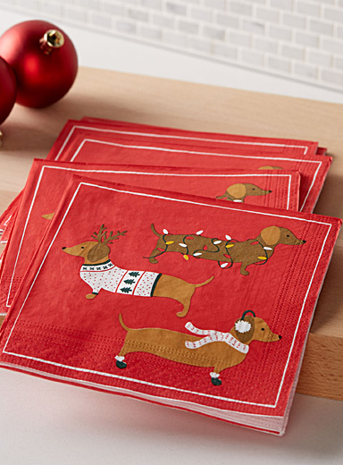 Holiday dachshund paper napkins  33 x 33cm. Pack of 20.