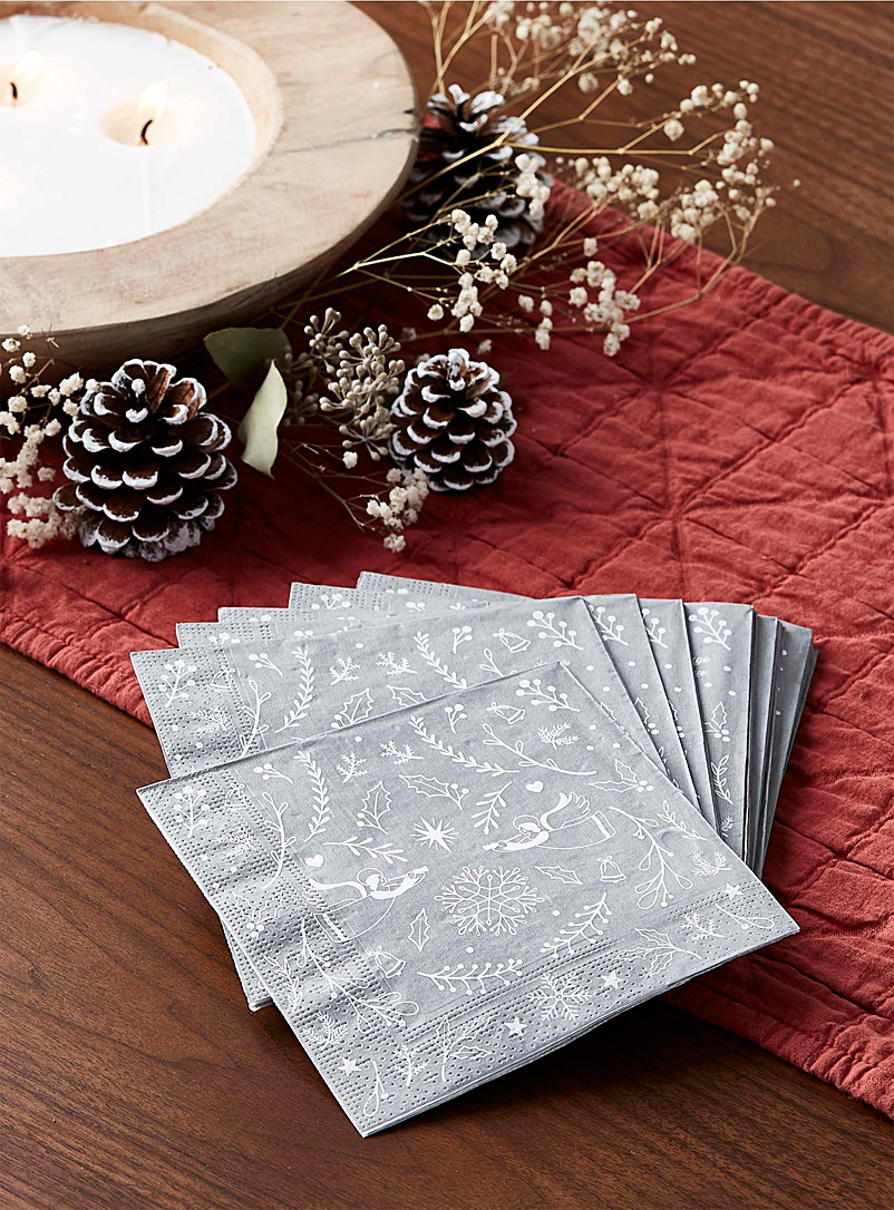 Choir of angels paper napkins  33 x 33 cm. Pack of 20. - Paper - Patterned Grey