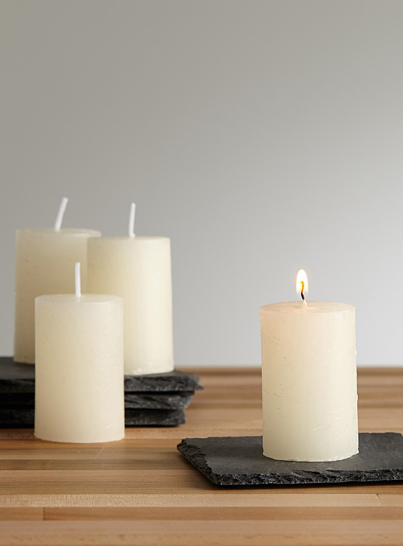 6 cm pillar candles  Set of 4 - Candles & Lanterns - Ivory White