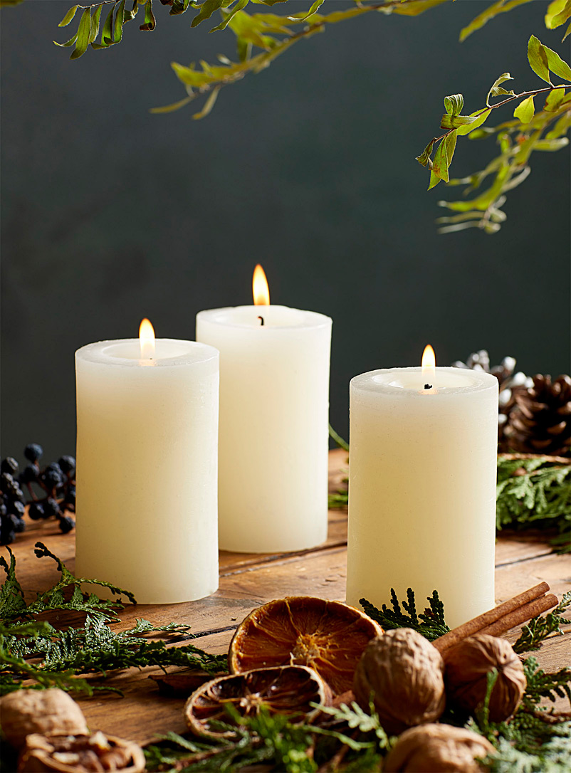 10 cm pillar candles  Set of 3