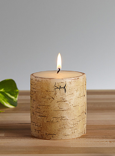 Faux-birch candle