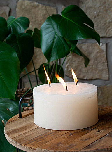 Large rustic three-wick candle