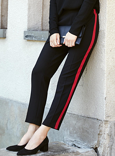 Sporty accent-stripe pant