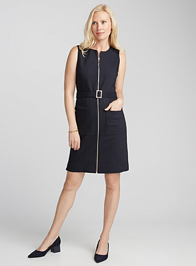 Accent zip belted dress