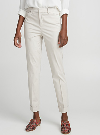 Semi-slim cotton sateen pant