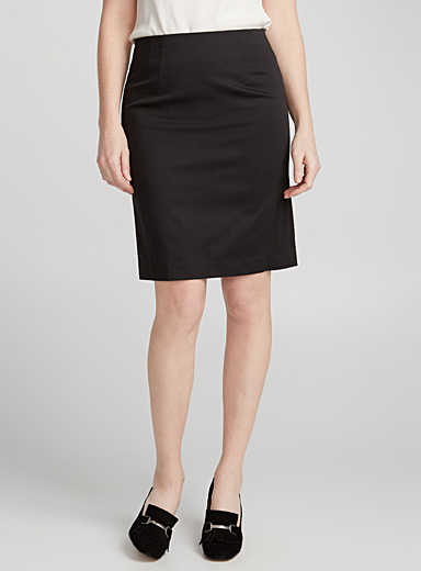 Cotton sateen straight skirt