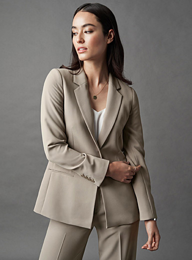 Techno crepe fitted jacket