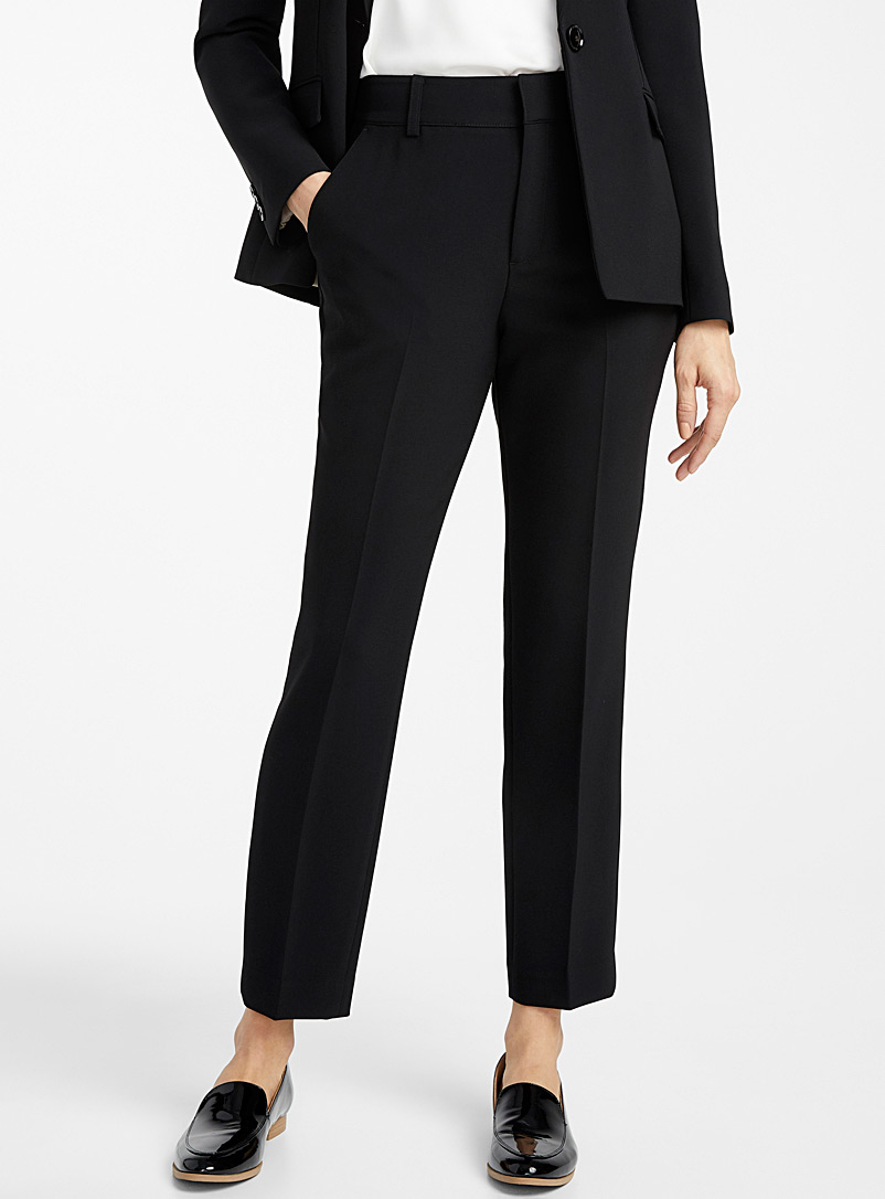 Contemporaine Black Techno crepe semi-slim pant for women