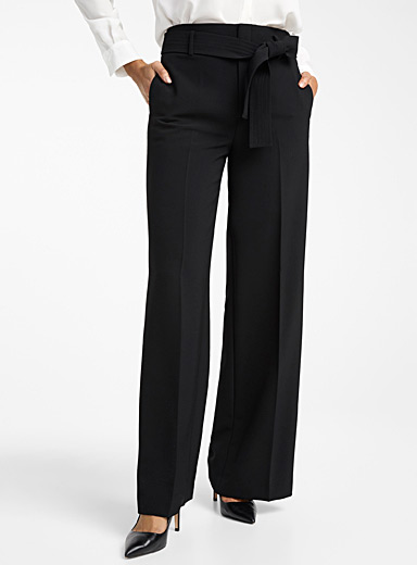 Contemporaine Black Belted techno crepe wide-leg pant for women