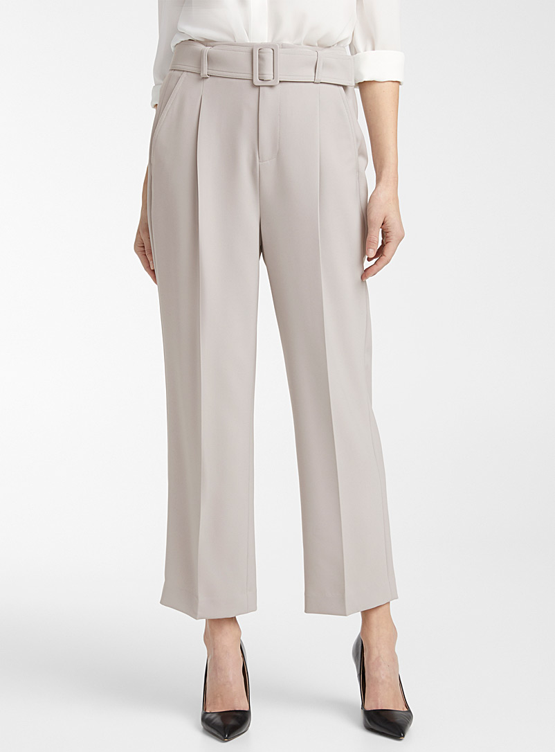 Contemporaine Grey Techno crepe belted crop pant for women