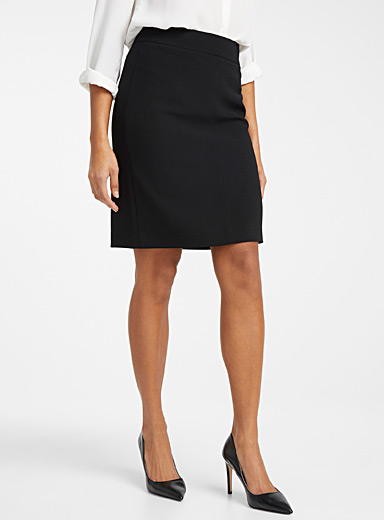Techno crepe straight skirt