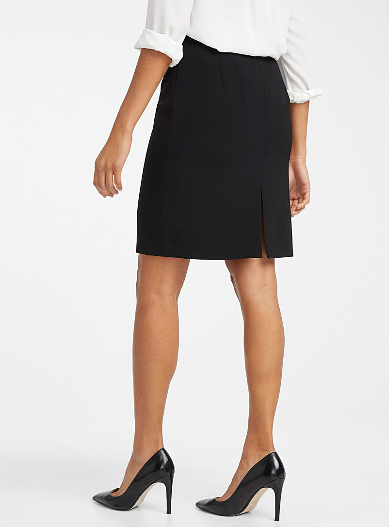 Contemporaine Dark Blue Suiting crepe straight skirt for women