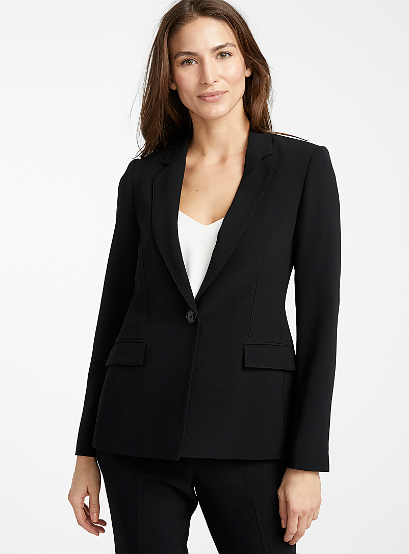 Contemporaine Black Techno crepe single-button jacket for women
