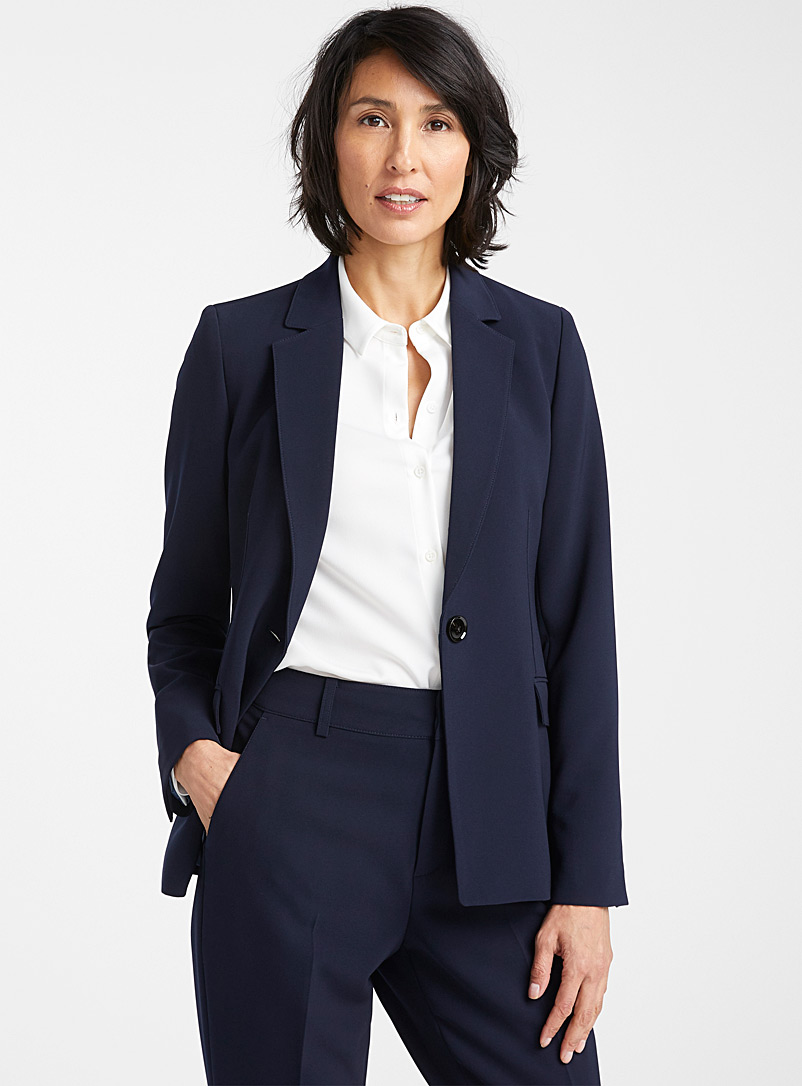Contemporaine Dark Blue Techno crepe single-button jacket for women