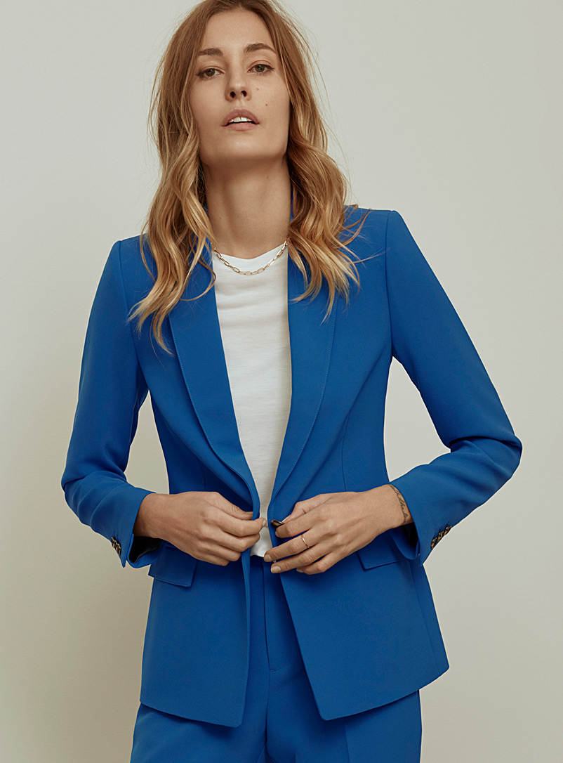 Techno crepe single-button jacket - Blazers - Sapphire Blue