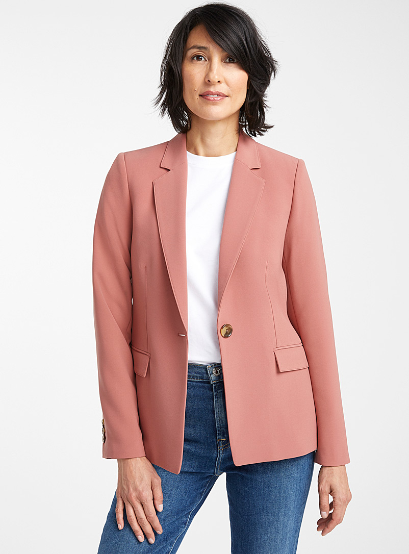 Contemporaine Dusky Pink Techno crepe single-button jacket for women